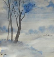 Snow Landscape Water Color by Boias