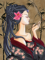 Copic Coloring Contest: Geisha by ninakuru