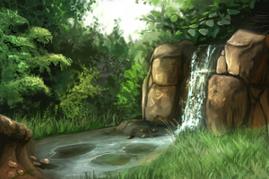 Nov 27th Speed Paint Study Waterfall Rock by charfade
