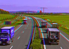 Traffic on the Autobahn ::: Anaglyph HDR 3D by zour