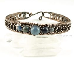 Blue Aventurine and Copper Chain Weave Bracelet by sylva