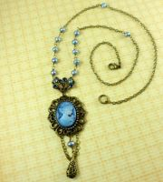 Antique Brass Blue Pearl Crystal Cameo Necklace by DryGulchJewelry
