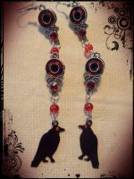Itachi Crow/Sharingan Earrings by pikabellechu