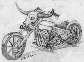 Post Apocalyptic HD Chopper w/Bullhorns by RedSpider2008