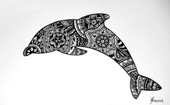 Zentangle Dolphin by Hagane-V