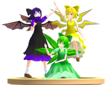 MMD Trophy: Korone's Dark,Electric and Leaf Cirnos by Rea-Usax