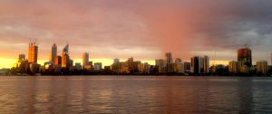 Golden Perth skyline by westaussie