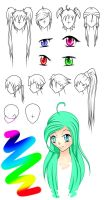 ANIME hair and eye study by Mazula