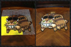 The Catbus is here! Totoro Catbus Perler Bead Art by jnjfranklin