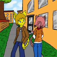 Strolling Across Campus by VedtheFlameDevil