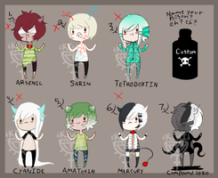 PICK YOUR POISON ADOPTS CLOSED by Kiwi-adopts