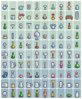 100 glassware sprites by Neoriceisgood