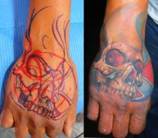 freehand skull tattoo by ODIETATTOO