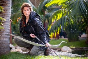 Katniss Crouching by Water by Lady-Skywalker
