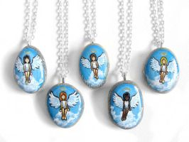 Angel Pendant Necklaces - Long Hair by sobeyondthis