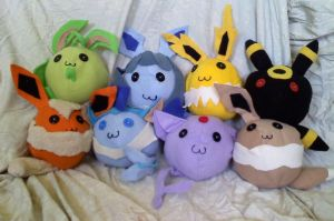 Eeveelution plushies by CaptHansIsMyMaster