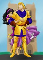 DC - Phoebus and Esmeralda (color) by vanillacoke-disney