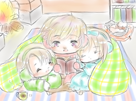 (Hetalia) Cuddle up! (Russia,Ukraine,Belarus) by Hyperkaoru13