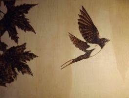 Swallow pyrography by MysticMyster