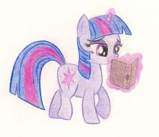 Twilight Sparkle loves her book by drawponies