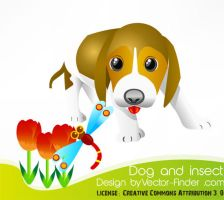 Free Vector Dog and Insert by freeiconsweb