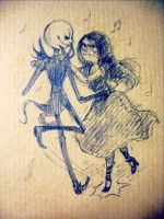 Jack and Sally are dancing by renmargo