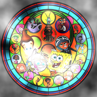 Nicktoons Unite! Stained Glass by spongefan257