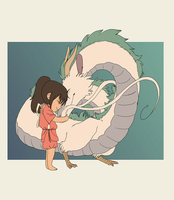 Chihiro and Haku (finished) by PantryMoth