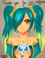 Sona and Poro by xKiaraAngelx