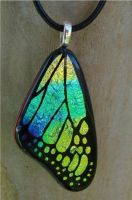 Yellow Rainbow Glass Wing by FusedElegance