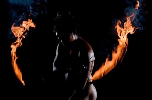 Silouette and fire by DX2Photography