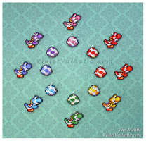 Bead Charms - March of the Yoshi by VioletValhalla