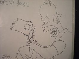 Bart vs Homer by symbelline