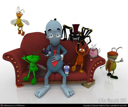 Insects and blue guy on couch by eosmusashi