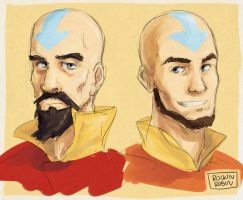 Tenzin and Aang by rockinrobin