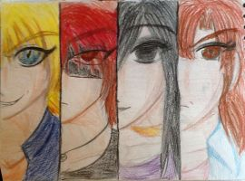 Four main characters four main expressions by Annthefirelover