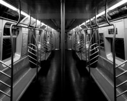 Dark NYC IX- Empty Subway Car by DanielJButler