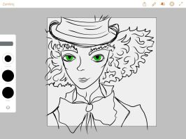 Adobe Draw Mad Hatter (unfinished) by JudytaDragon