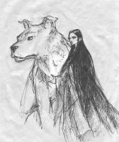 Luthien and Huan by Pika-la-Cynique