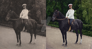 Black and white and colorization of Tsar Nicholas by KraljAleksandar