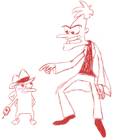 Perry and Doofenshmirtz Sketch by Leibi97