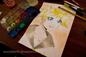 Kagamine Len watercolor by Marryhime94