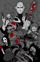 Horror Flick All-Stars (B,W, and Blood Version) by XinMyForehead