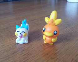 Pachirisu and Torchic Clay Models by Valodeon