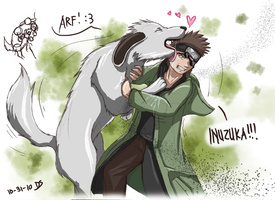 Akamaru and Shino .doodle. by Dingostride
