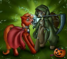 Papermoon and Sketch's Halloween Request by SpectralPony