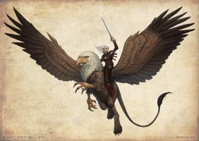 Merisiel riding a griffon by DevBurmak