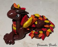 Fall Leaves Miniature Dragon Sculpture 2015 by prismaticpearls
