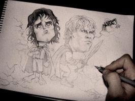 Frodo and Sam: In Progress... by monx-art