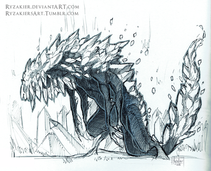 Inktober day 22 - Ravenous Crystal Lizard by Ryzakier